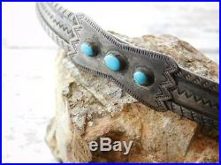 Vtg Early Century OLD PAWN Navajo TURQUOISE STERLING Silver Adjustable HAT BAND