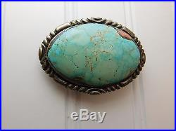 Vtg Early H R Coonsis Sterling Silver ZUNI Turquoise SALMON CORAL Belt Buckle