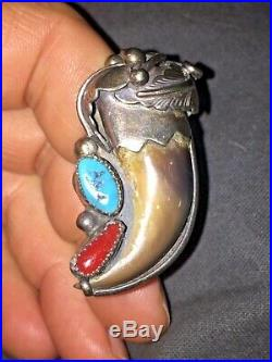 Vtg Elizabeth E. Etsitty Sterling Silver Navajo Claw Ring Turquoise Coral Size 9