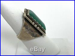 Vtg FRED HARVEY era Navajo Ring 7 1/2 Sterling Silver TURQUOISE Old Pawn stamped