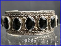 Vtg Heavy 54g Old Pawn Navajo Onyx Sterling Silver Cuff Bracelet