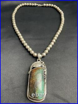 Vtg Heavy 93g Navajo Turquoise Pearl Bead Sterling Necklace