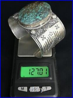 Vtg Huge Navajo Lone Mountain Turquoise Sterling Silver Cuff Bracelet 127g