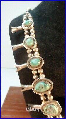 Vtg Large Heavy Sterling Silver Turquoise Squash Blossom Necklace 25 S 1950