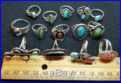Vtg NATIVE AMERICAN Sterling Silver TURQUOISE CORAL & MORE! Ring Lot Of 14
