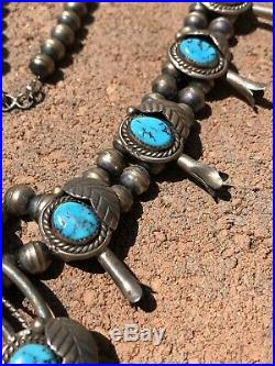 Vtg NAVAJO Sterling Silver Sleeping Beauty Turquoise SQUASH BLOSSOM Necklace 30