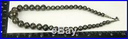 Vtg Native American Hand Stamped Pearl Bench Bead Graduated Sterling Necklace