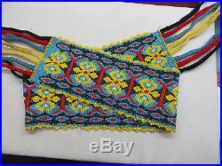 Vtg Native American Indian Glass Hand Beaded Sash Belt 16hanging Braided Fringe