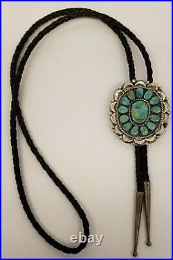 Vtg Native American Navajo Sterling Silver & 14 Turquoise Color Stonesbolo Tie