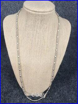 Vtg Native American Navajo Sterling Silver small bench beads necklace