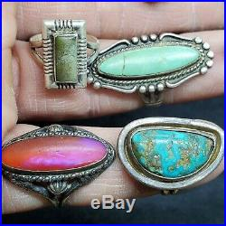 Vtg Native American STERLING SILVER Turquoise & More! Ring Lot Of (11)