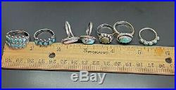 Vtg Native American TURQUOISE Sterling Silver Rings (7)