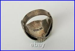 Vtg Native American Zuni/Navajo Sterling Silver Turquoise Mens Ring Size 10.5