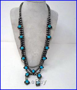 Vtg Navajo Old Pawn Silver Blue Gem Turquoise Bench Bead Squash Blossom Necklace