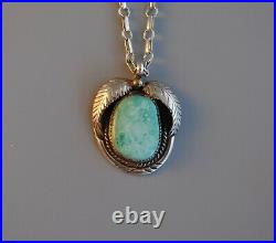 Vtg Navajo Signed Rt Sterling Silver Turquoise Necklace Leaf 24 Long Chain