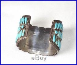 Vtg Navajo Signed Y Yazzie Sterling Silver Huge Cuff Bracelet 68 Turquoise