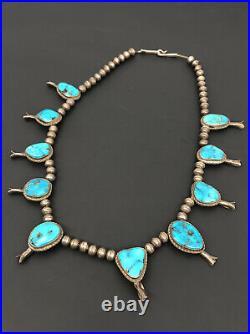 Vtg Navajo Sterling Silver Blue Gem Bisbee Turquoise Squash Blossom Necklace 22