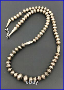 Vtg Navajo Sterling Silver Disk Long Pillow Pearl Bench 9mm Bead Necklace 25.25