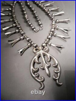Vtg Navajo Sterling Silver Squash Blossom Necklace, Sand Cast Naja, 18 Blossoms