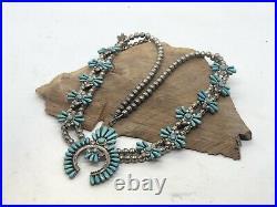 Vtg Navajo Sterling Silver & Turquoise Squash Blossom Necklace, Southwest Native