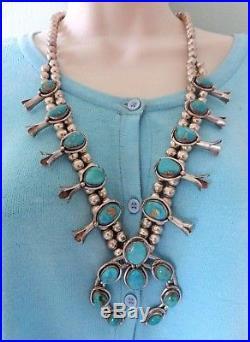 Vtg Navajo squash blossom turquoise necklace sterling silver 2 strand 188 gr 26