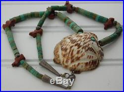 Vtg OLD PAWN NAVAJO Silver PIPESTONE TURQUOISE BEAD Necklace FROG SHELL Pendant