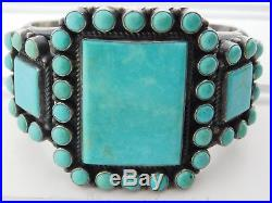 Vtg OLD PAWN Navajo KIRK SMITH Sterling Silver CLUSTER TURQUOISE Cuff Bracelet