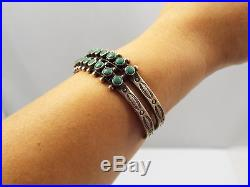 Vtg Old Native American Zuni Sterling Silver Double Row Turquoise Cuff Bracelet