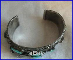Vtg Old PAWN NAVAJO TURQUOISE Sterling SILVER Cuff Watch BRACELET