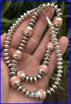 Vtg Old PAWN Navajo Sterling Silver & Coral Inlay Pearl Bench Bead Necklace 22