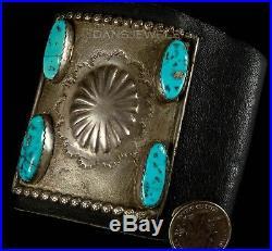 Vtg Old Pawn Navajo Cast Kingman Natural Turquoise Sterling Bow Guard Bracelet