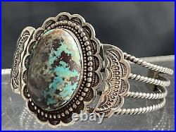 Vtg Old Pawn Navajo Detailed Turquoise Sterling Silver Cuff Bracelet 48g
