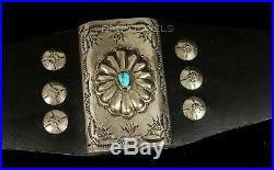 Vtg Old Pawn Navajo Kingman Natural Turquoise Sterling Bow Guard Bracelet