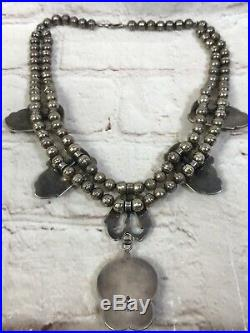 Vtg Old Pawn Navajo Squash Blossom GWR Royston Turquoise Sterling Necklace 119g