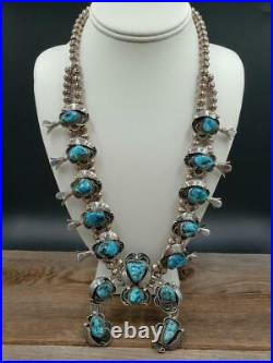 Vtg Old Pawn Navajo Sterling Genuine Morenci Turquoise Squash Blossom Necklace