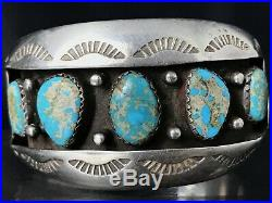 Vtg Old Pawn Navajo Sterling Silver Cluster Spiderweb Turquoise Cuff Bracelet 99