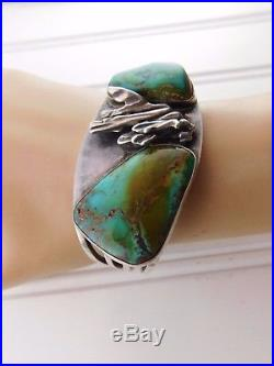 Vtg Old Pawn Sterling Silver ROYSTON TURQUOISE Cuff Bracelet