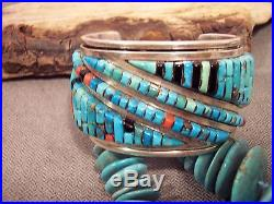 Vtg Pete Sierra Turquoise Coral Onyx Cobblestone Sterling S Cuff Bracelet 194.1G