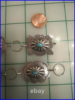 Vtg SIGNED Stamped sterling silver turquoise concho belt Navajo 40 long 70g