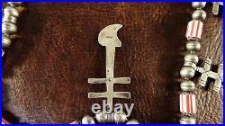 Vtg St Silver Necklace Navajo Pueblo Crosses withChevron Trade Beads