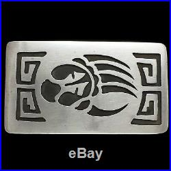 Vtg Sterling Silver Hopi Bear Paw Claw Native American Indian Tribal Belt Buckle
