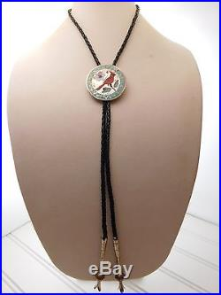 Vtg ZUNI Ruddell & Nancy LACONSELLO Sterling Silver CORAL Red CARDINAL Bolo Tie