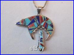 Vtg sterling silver Navajo LRG Calvin Begay inlay turquoise Bear DANGLE pendant