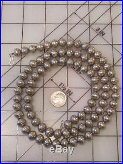 Vtg sterling silver desert NAVAJO PEARLs bench bead ball necklace STAMPed WORK
