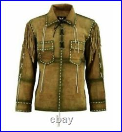 Western Wear Suede Leather Cowboy Fringe Mens Shirt Style Native American Jacket