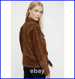 Women Western Suede Leather Jacket Free People Studded Easy NATIVE AMERICANS