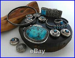 X6 Lot Vintage Native American Navajo Sterling Turquoise Pendant Ring Bracelet