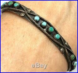 Zuni Cuff Bracelet Turquoise 8.5g 6.25in Snake Eye Silver VTG Fred Harvey Era