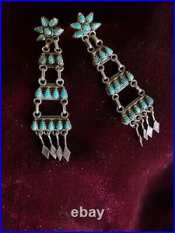 Zuni Old Pawn Vintage Petit Point Chandelier Earrings