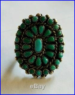 Zuni Silver & Turquoise Cluster Ring Vintage
